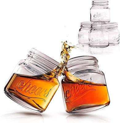 2 full mason jar shot glasses