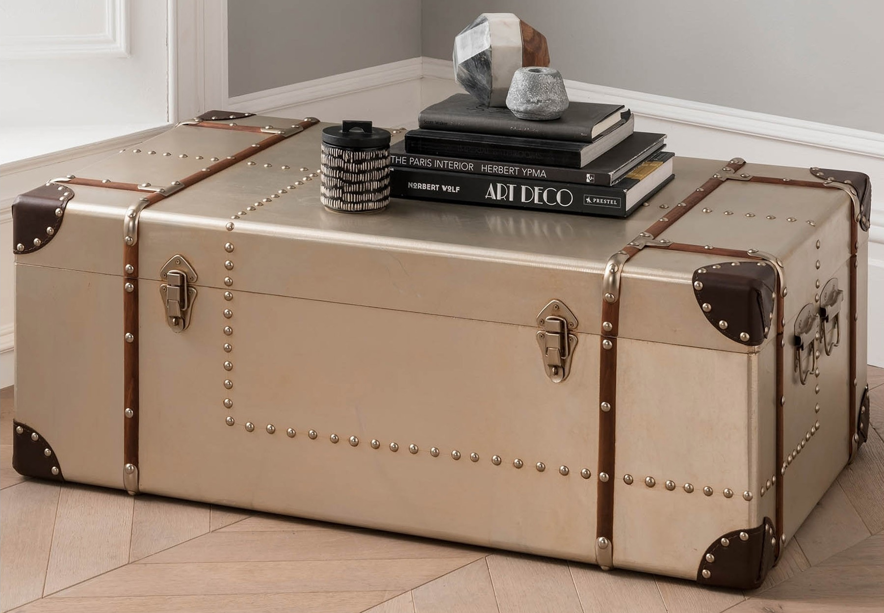 Storage trunk with books on top