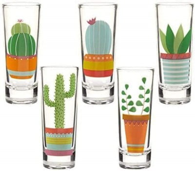five tequila shot glasses with cactus prints